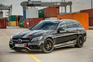 Обои Mercedes-Benz Стайлинг Черный Металлик 2015 AMG C 63 by PerformMaster Машины
