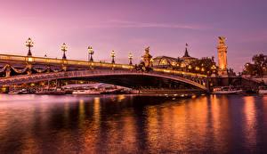 Фотографии Франция Реки Мосты HDR Париж Ночь Уличные фонари Города