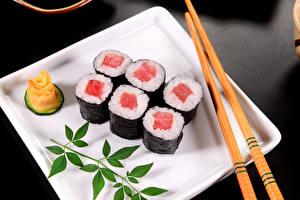 Картинки Морепродукты Суши Рис Палочки для еды Еда