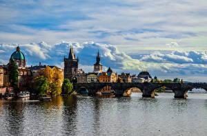 Фотография Прага Чехия Здания Реки Мосты Корабль Карлов мост HDRI Облако Города