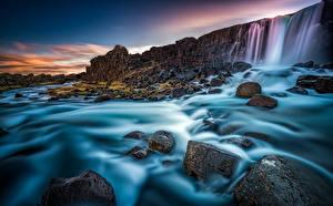 Фотографии Исландия Речка Камни Водопады Oxararfoss Oxara river Arnessysla Природа