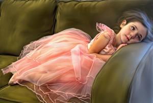 Фотографии Рисованные Девочки Балет Платье Ребёнок