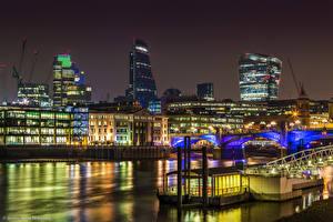 Обои Здания Великобритания Реки Мост Лондон Ночь город