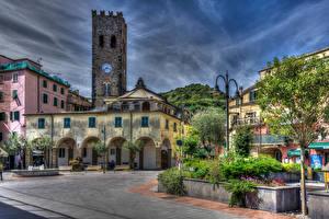 Обои Италия Дома Небо Лигурия HDR Улица Monterosso Города фото