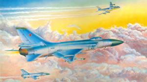 Обои Самолеты Истребители Рисованные Облака SU-15 Авиация фото