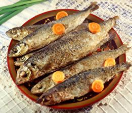 Фотографии Морепродукты Рыба Морковь Тарелка Пища