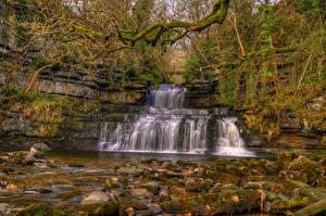 Картинки Англия Водопады Осень Камень Мох HDRI Cotter Force Cotterdale Cumbria Природа