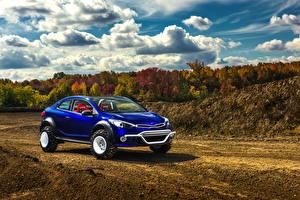 Картинка KIA Осенние Металлик Облако Синяя 2015 Forte Koup Mud Bogger машины Природа