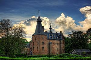 Фотографии Нидерланды Замки Облака HDR Kasteel Doorwerth Города