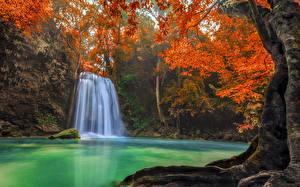 Обои Таиланд Водопады Erawan Waterfall Природа фото