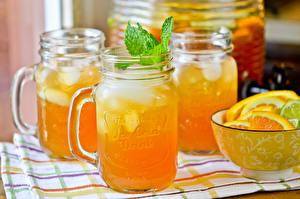 Фото Напитки Сок Апельсин Банка Еда