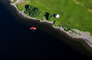 Фотографии Озеро Побережье Летят Сверху Природа