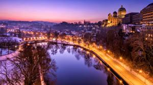 Фотографии Швейцария Дороги Пруд Берн В ночи Уличные фонари