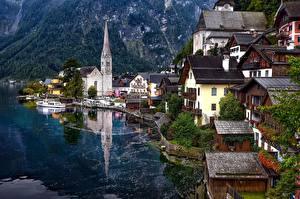 Картинка Австрия Озеро Дома Халльштатт Альпы Lake
