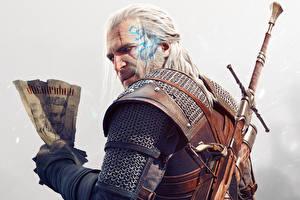 Обои The Witcher 3: Wild Hunt Мужчины Геральт из Ривии Мечи Доспехи Hearts of Stone DLC Игры Фэнтези фото