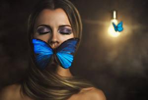 Картинки Бабочки Макияж 3D Графика Девушки Животные