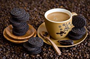 Фотография Напитки Кофе Печенье Зерна Чашка