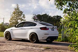 Картинка BMW Белый Сбоку x6m e71 white Машины