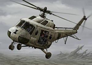 Обои Вертолеты Рисованные Mi-2 version Авиация фото