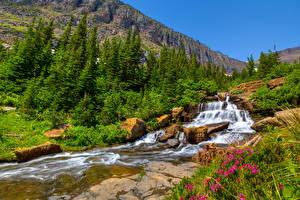 Фотографии Горы Водопады Реки Пейзаж Природа
