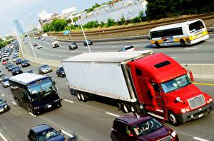 Картинки Грузовики Дороги Красные Скорость авто