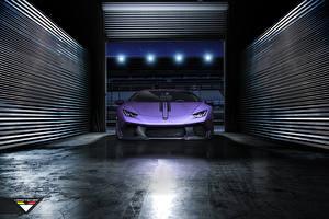 Фото Ламборгини Гараж Фиолетовый Спереди Роскошный Huracan vorsteiner Novara tuning supercar автомобиль