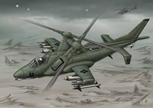 Обои Вертолеты Рисованные Авиация фото