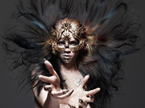 Картинки Маски Макияж Волосы Руки Grimes Claire Boucher Hunger 2015 Rankin Музыка Знаменитости Девушки