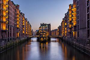 Картинки Германия Гамбург Здания Водный канал