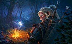 Обои The Witcher 3: Wild Hunt Леса Геральт из Ривии Ночь Мечи CD Project RED rpg Игры Фэнтези фото