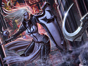 Обои Diablo 3 Воины Блондинка Броня Щит Crusader Игры Девушки Фэнтези