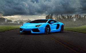 Картинка Lamborghini Роскошные Голубых Aventador supercar Автомобили