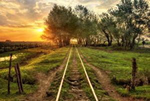 Фото Железные дороги Рассветы и закаты Дерево Природа