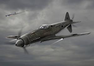 Обои Самолеты Истребители Рисованные FW-190D Авиация фото