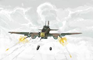 Обои Самолеты Рисованные Выстрел Облака Авиация фото