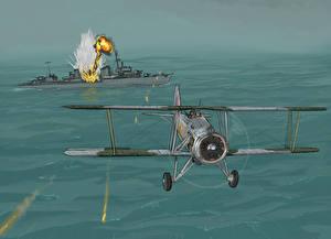 Обои Самолеты Корабли Рисованные Авиация фото