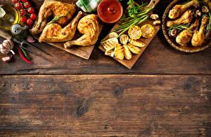 Обои Мясные продукты Курица запеченная Овощи Картофель фри Томаты Продукты питания