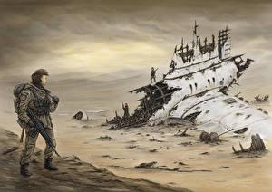 Картинка Солдаты Катастрофы Рисованные Winds of Fate Фэнтези