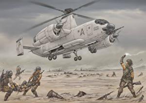 Обои Вертолеты Солдаты Рисованные Fairey Rotodyne Авиация фото