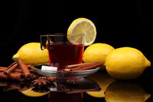 Обои Напитки Чай Лимоны Корица Чашке Продукты питания