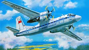 Обои Самолеты Рисованные Пассажирские Самолеты Antonov An-24 Авиация фото
