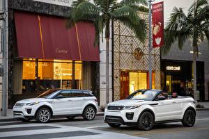 Картинки Range Rover Белых Металлик 2 Кабриолет Улица 2015 Range Rover Evoque convertible машины