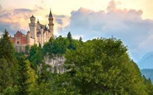 Фотографии Германия Замки Гора Нойшванштайн Бавария Дерева Облака Города Природа
