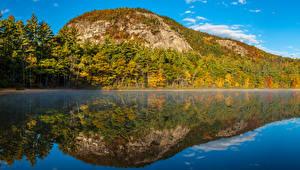 Картинки Пейзаж США Озеро Горы Леса Осень Echo Lake New Hampshire Природа