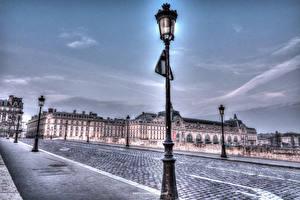 Фотографии Франция Здания Дороги Небо HDR Париж Уличные фонари Улице Города