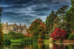 Обои Великобритания Парки Речка Замки Небо Деревья HDRI Sheffield Park Garden Природа