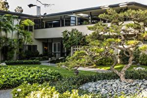 Фотографии США Здания Ландшафтный дизайн Камень Калифорния Особняк Деревья Orange