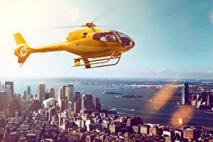 Фотографии Здания Реки Вертолеты Желтый Города