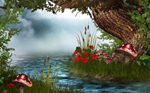 Обои Речка Грибы природа Трава 3D Графика Природа