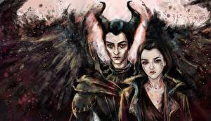 Картинки Два Крылья Рога Maleficent and Diaval Фильмы Фэнтези Девушки